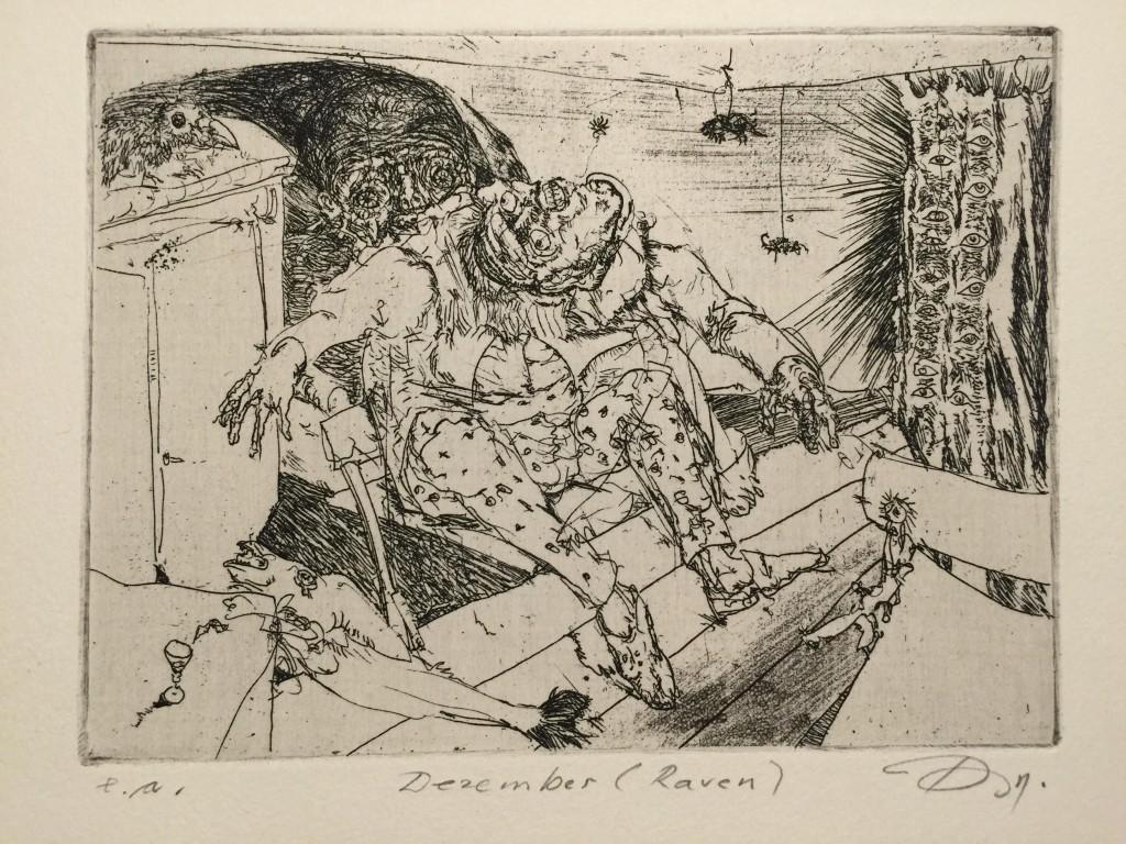 Thomas Rug - Dezember (Raven) - Edgar Allan Poe - Radierung