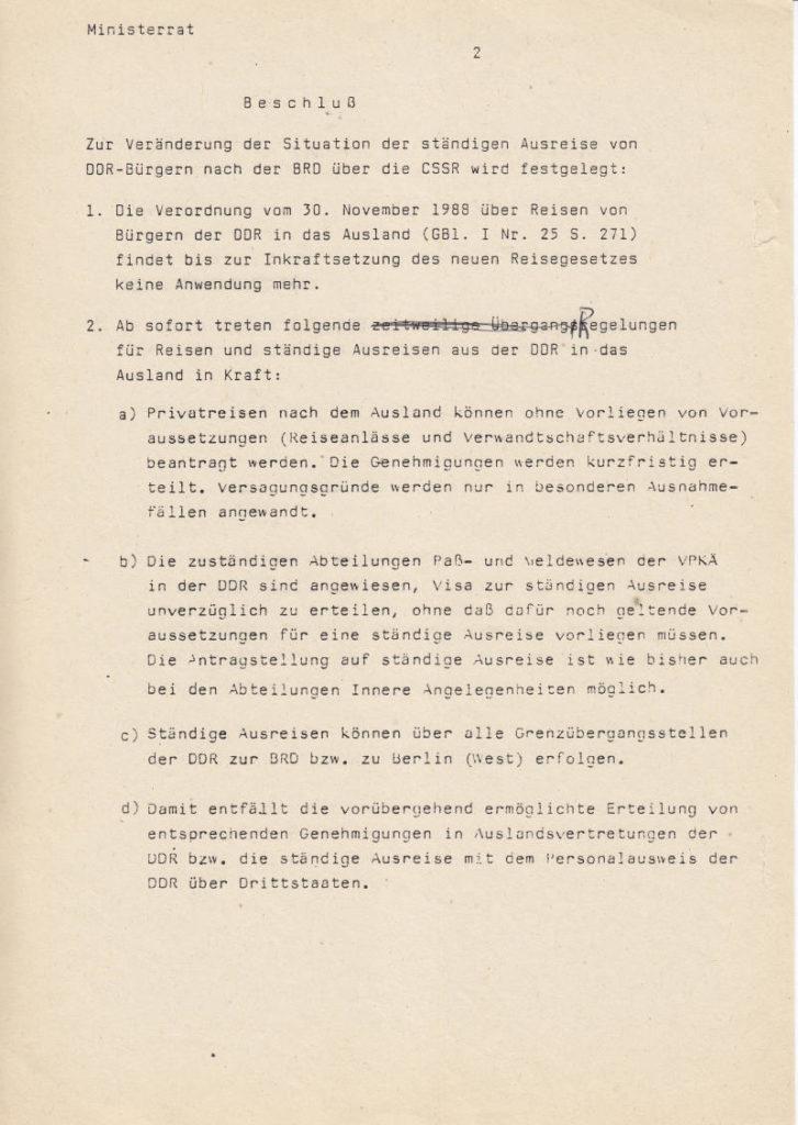 Beschluss Ministerrat DDR Ausreise Egon Krenz Schabowski